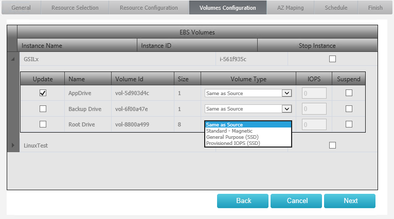 Disaster Recovery Volumes Configuration